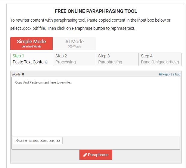 Free online paraphrasing tool